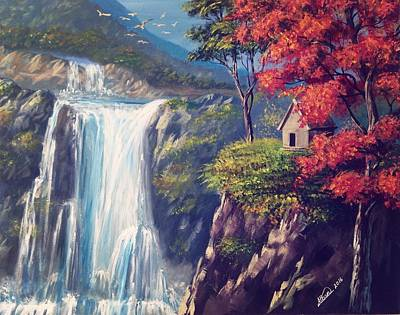 Painting - Waterfall  by Alban Dizdari