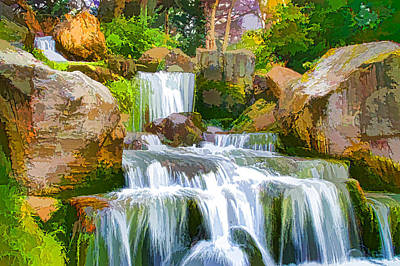 Waterfall And Blue Stream In The Yellow Forest Art Print by Lanjee Chee