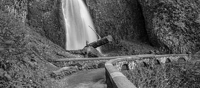 Photograph - Waterfall And Bridge Black And White  by John McGraw