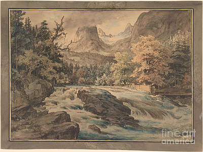 Fearnley Painting - Waterfall At Berchtesgarten  by MotionAge Designs