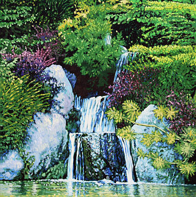 Painting - Waterfall At Japanese Garden by John Lautermilch