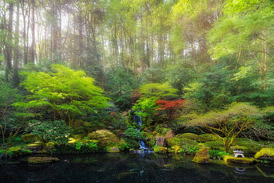 Landscape Photograph - Waterfall At Lower Pond In Japanese Garden by David Gn