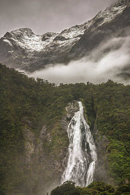 Photograph - Waterfall At Milford Sound by Racheal Christian