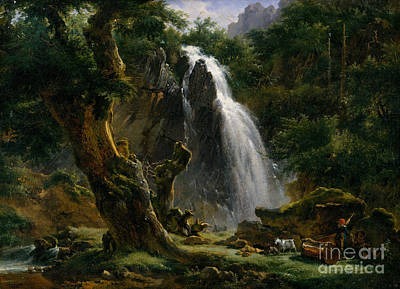 Etna Painting - Waterfall At Mont-dore by Celestial Images