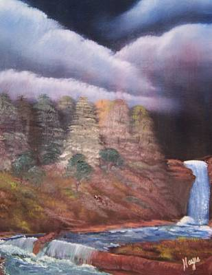 Art Print featuring the painting Waterfall by Barbara Hayes