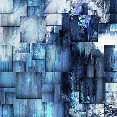 Mixed Media - Waterfall Blues Contemporary Abstract Art by Georgiana Romanovna