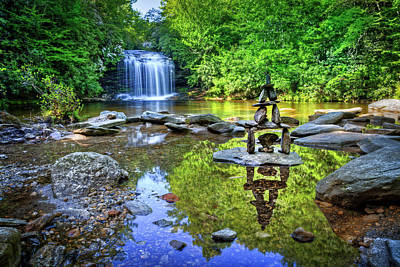 Photograph - Waterfall Cairn At Schoolhouse Falls by Debra and Dave Vanderlaan
