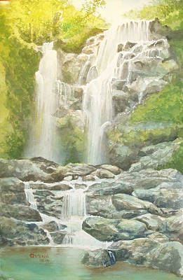 Waterfall Art Print by Charles Hetenyi