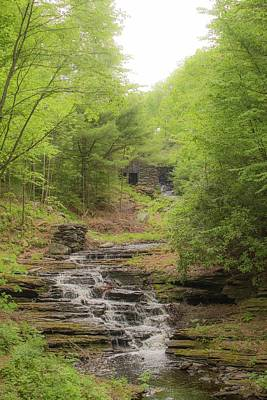 Photograph - Waterfall Drops From Old Mill At Moore State Park by Michael Saunders