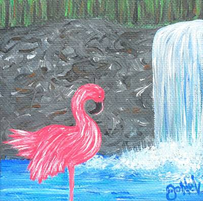 Painting - Waterfall Flamingo by JoNeL Art