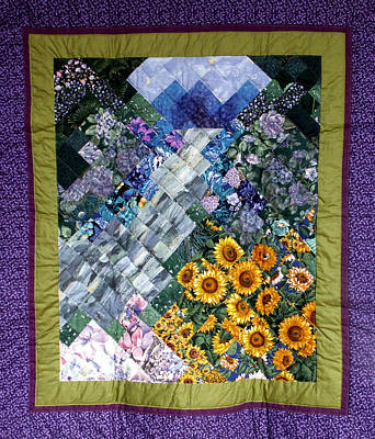 Tapestry - Textile - Waterfall Garden Quilt by Sarah Hornsby