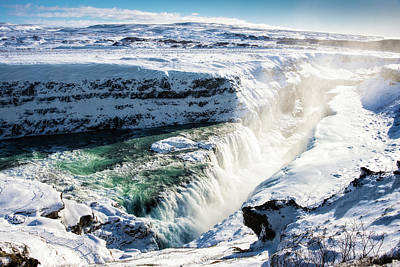 Print featuring the photograph Waterfall Gullfoss Iceland In Winter by Matthias Hauser