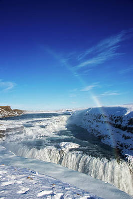 Print featuring the photograph Waterfall Gullfoss In Winter Iceland Europe by Matthias Hauser