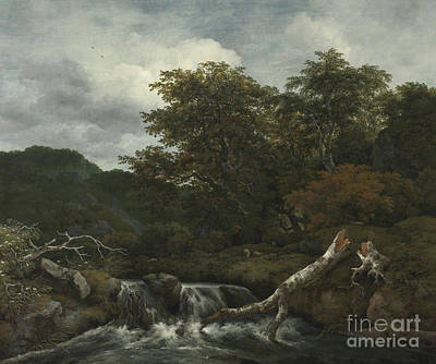 Waterfall In A Hilly Wooded Landscape Art Print
