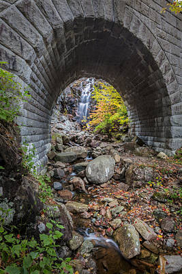Maine Roads Photograph - Waterfall In Acadia by Jon Glaser