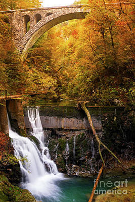 Photograph - Waterfall In An Autumn Canyon by IPics Photography