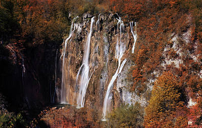 Photograph - Waterfall In Autumn Scenery by Jaroslaw Blaminsky