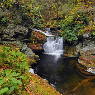 Waterfall In Autumn Art Print by Stephen  Vecchiotti