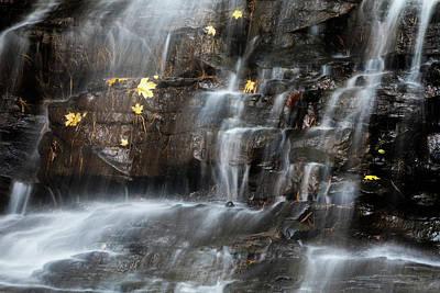Falling Leaf Photograph - Waterfall In Autumn Sunlight by Tom Mc Nemar
