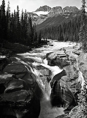 Waterfall In Banff National Park Bw Art Print