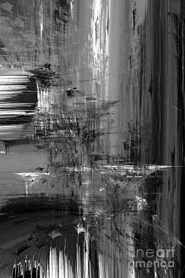 Digital Art - Waterfall In Black And White by Rafael Salazar