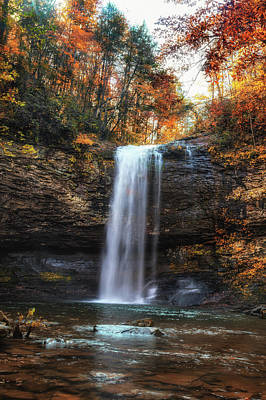 Photograph - Waterfall In Fall At Cloudland Canyon by Debra and Dave Vanderlaan