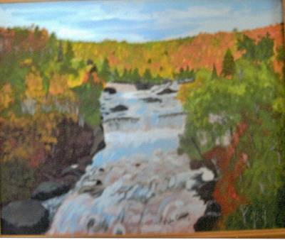 Waterfall In Fall Art Print by Juanita Couch