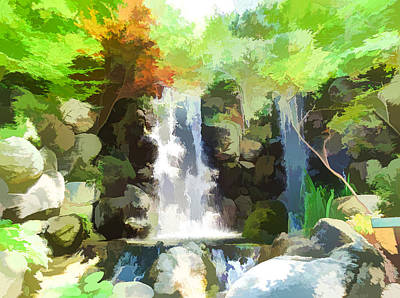 Waterfall In Forest Art Print by Lanjee Chee