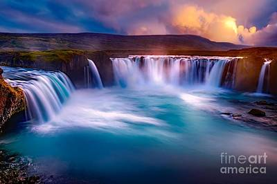 Azure Photograph - Waterfall In Iceland At Sunset by Thomas Jones