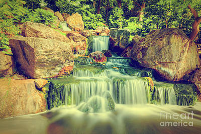 Photograph - Waterfall In Japanese Garden. Holland Park In London, Uk by Michal Bednarek