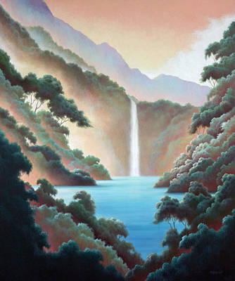 Painting - Waterfall In Paradise by Charle Hazlehurst