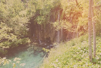 Waterfall Photograph - Waterfall In Plitvice National Park In Croatia With Vintage Inst by Brandon Bourdages