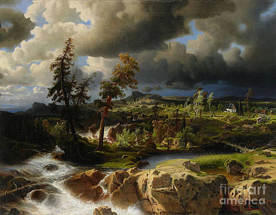 Larson Painting - Waterfall In Smaland by MotionAge Designs