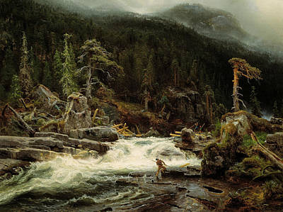 Waterfall In Telemark Art Print by August Cappelen