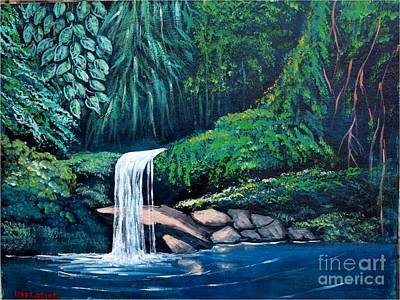 Painting - Waterfall In The Forest by Jean Pierre Bergoeing