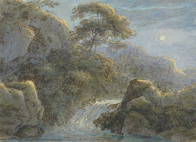 Drawing - Waterfall In The Mountains By Moonlight by Franz Kobell