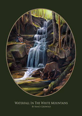 Painting - Waterfall In The White Mountains Card by Nancy Griswold