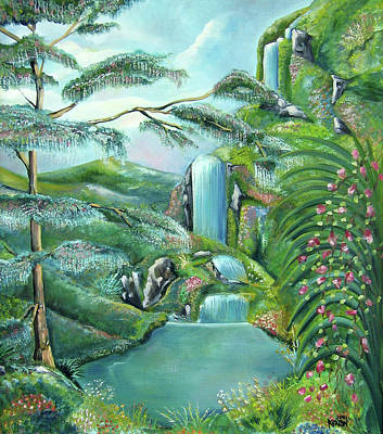 Johnkeaton Painting - Waterfall by John Keaton