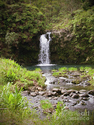 Pencil Drawing Waterfall Photograph - Waterfall Maui by Phil Welsher