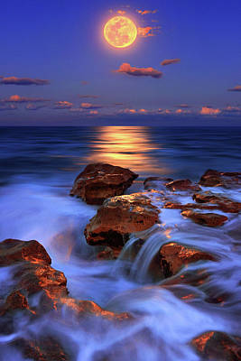 Photograph - Waterfall Motion In The Ocean Under The Full Moon In Jupiter, Florida by Justin Kelefas
