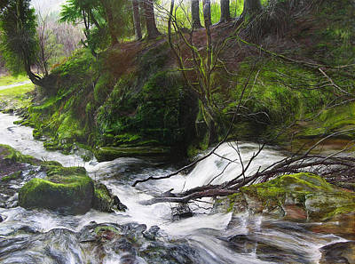 Waterfall Near Tallybont-on-usk Wales Art Print by Harry Robertson
