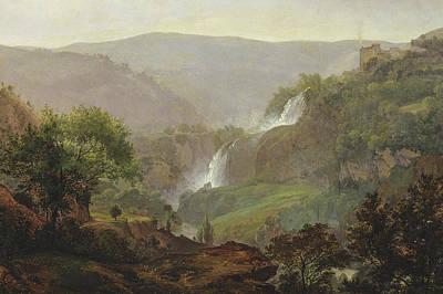 Fall Of River Painting - Waterfall Near Tivoli by Johann Martin von Rohden