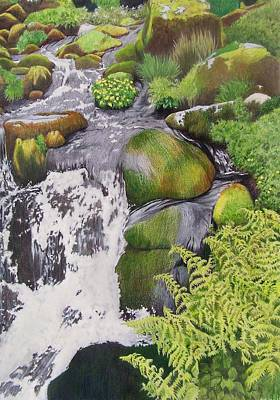 Art Print featuring the mixed media Waterfall On Skye by Constance Drescher