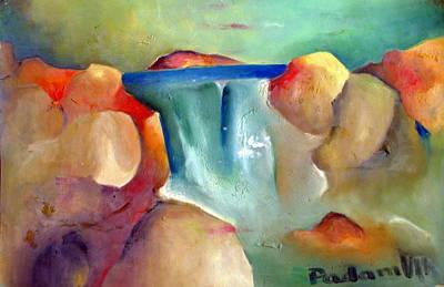 Waterfall Art Print by Padamvir Singh