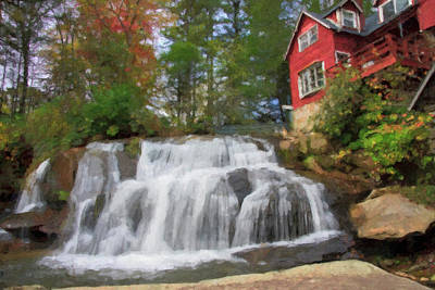 Waterfall Painting Art Print by Jill Lang