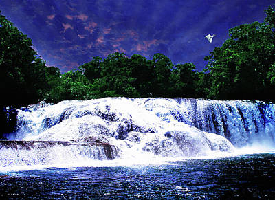 Waterfall Painting Waterfall Prints On Canvas - Agua Azul Art Print by Zenisart Gallery