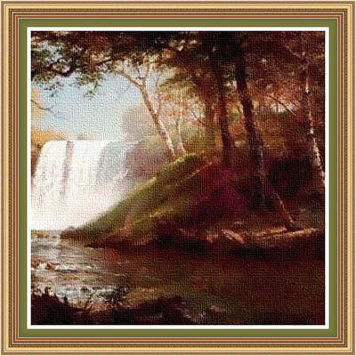 Superhero Ice Pop - Waterfall Scene - In The Old Classic Style. H B With Decorative Ornate Printed Frame. by Gert J Rheeders