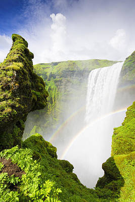Photograph - Waterfall Skogafoss Iceland In Green Paradise by Matthias Hauser