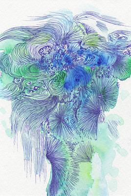 Waterfall - #ss16dw044 Art Print by Satomi Sugimoto