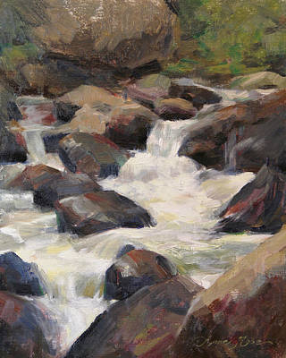 Rocky Mountain National Park Painting - Waterfall Study by Anna Rose Bain